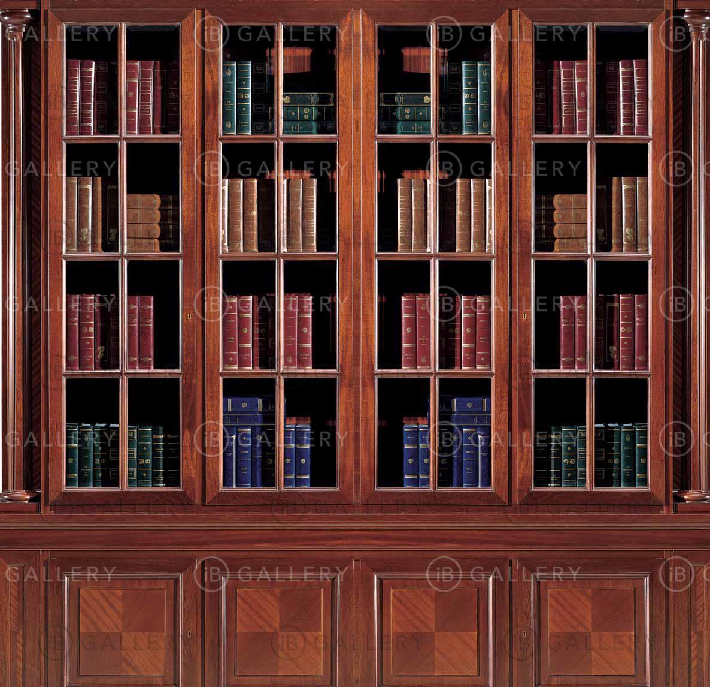 Книжный шкаф четырёхстворчатый из массива красного дерева im.